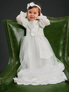 Ericdress Lace Long Sleeves Christening Gown with Headband