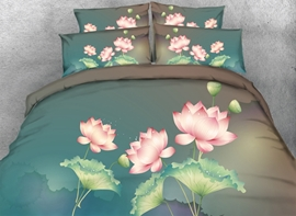 Vivilinen 3D Pink Lotus Printed Cotton 4-Piece Blue Bedding Sets/Duvet Covers