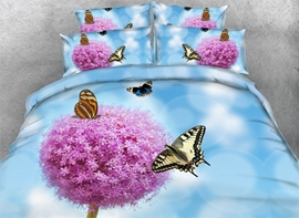 Vivilinen 3D Pink Dandelion and Butterflies Printed Cotton 4-Piece Blue Bedding Sets