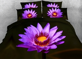 Vivilinen 3D Blooming Purple Flower Printed Cotton 4-Piece Bedding Sets/Duvet Cover