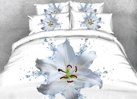 Vivilinen 3D Pure Dewy Lily Printed 4-Piece White Bedding Sets/Duvet Cover