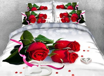 Vivilinen 3D Red Roses and Ribbon Printed Cotton 4-Piece White Bedding Sets/Duvet Covers