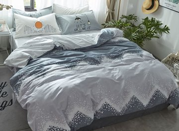 Vivilinen Waves Printed Cotton Simple Style Gray Kids Duvet Covers/Bedding Sets