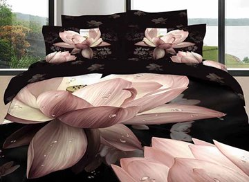 Vivilinen 3D Pink Lotus Printed Cotton 4-Piece Black Bedding Sets/Duvet Cover