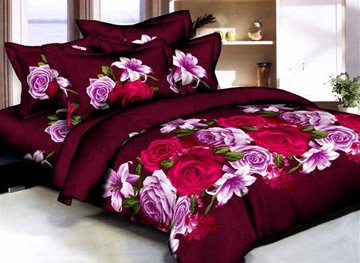 Vivilinen Rose and Lily 3D Printed Burgundy Cotton 4-Piece Bedding Sets/Duvet Covers