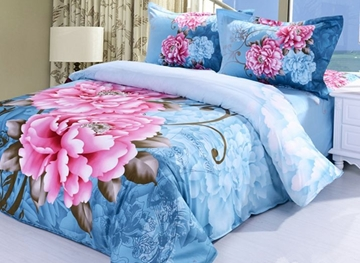 Vivilinen 3D Pink Peony Printed Cotton 4-Piece Blue Bedding Sets/Duvet Covers