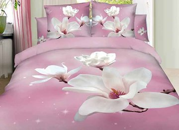 Vivilinen 3D White Magnolia Printed Cotton 4-Piece Light Pink Bedding Sets/Duvet Covers