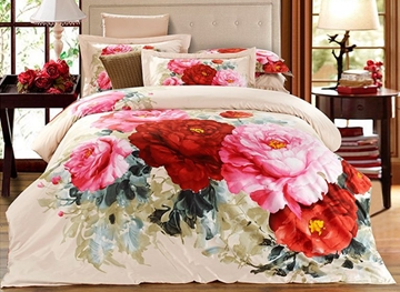 Vivilinen 3D Peonies Printed Cotton 4-Piece Bedding Sets/Duvet Covers