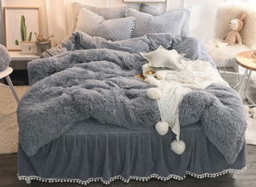 Vivilinen Solid Gray Simple Style Quilting Bed Skirt 4-Piece Fluffy Bedding Sets/Duvet Cover