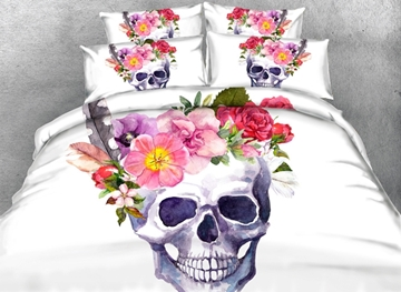 Vivilinen 3D Blooming Flowers and Skull Printed Cotton 4-Piece White Bedding Sets/Duvet Covers