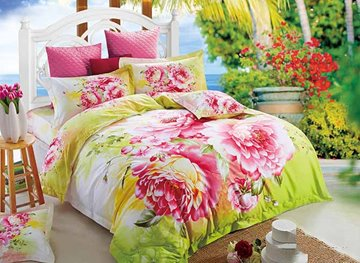 Vivilinen 3D Pink Peony Prined Cotton Pastoral Style 4-Piece Bedding Sets/Duvet Covers