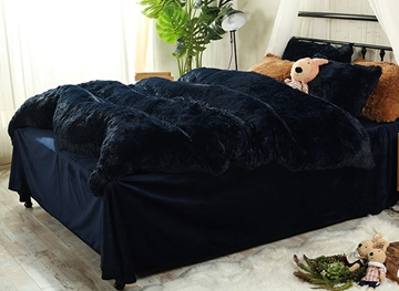 Vivilinen Full Size Navy Blue Super Soft Plush 4-Piece Fluffy Bedding Sets/Duvet Cover
