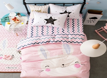 Vivilinen Rabbit Printed Cotton 3-Piece Light Pink Duvet Covers/Bedding Sets