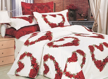 Vivilinen 3D Heart-shaped Red Roses Printed Cotton 4-Piece White Bedding Sets/Duvet Covers
