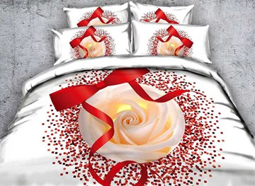 Vivilinen 3D Red Ribbon and Rose Printed Cotton 4-Piece White Bedding Sets/Duvet Covers