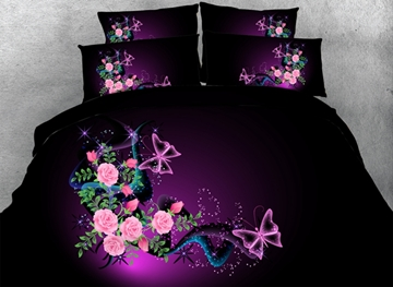 Vivilinen 3D Butterflyies and Pink Roses Printed Cotton 4-Piece Bedding Sets/Duvet Covers