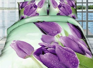 Vivilinen 3D Purple Tulips Printed Cotton Full Size 4-Piece Bedding Sets/Duvet Covers