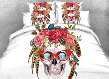 Vivilinen 3D Skull with Glasses Printed Cotton 4-Piece White Bedding Sets/Duvet Covers