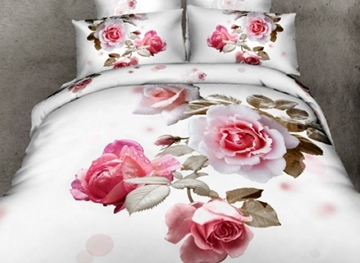 Vivilinen 3D Light Pink Roses Printed Cotton Full Size 4-Piece White Bedding Sets