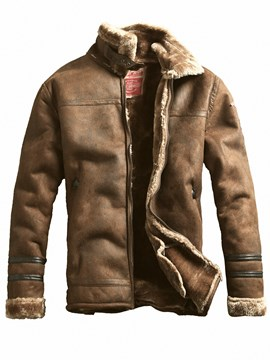 Ericdress Lapel Plain Zipper Vintage Men's Thick Winter Coat Jacket