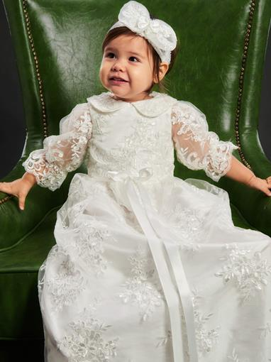 Ericdress Lace Tulle Headband Christening Gown for Baptism Girls