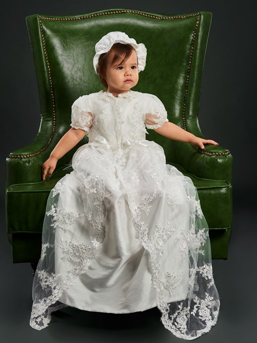 Ericdress Lace Appliques Baby Girls Christening Gown with Bonnet