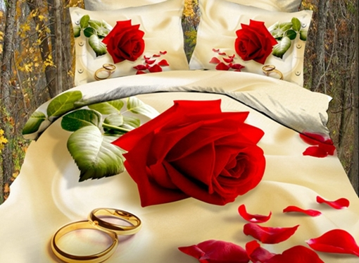 Vivilinen 3D Red Rose with Golden Rings Printed Cotton 4-Piece Bedding Sets