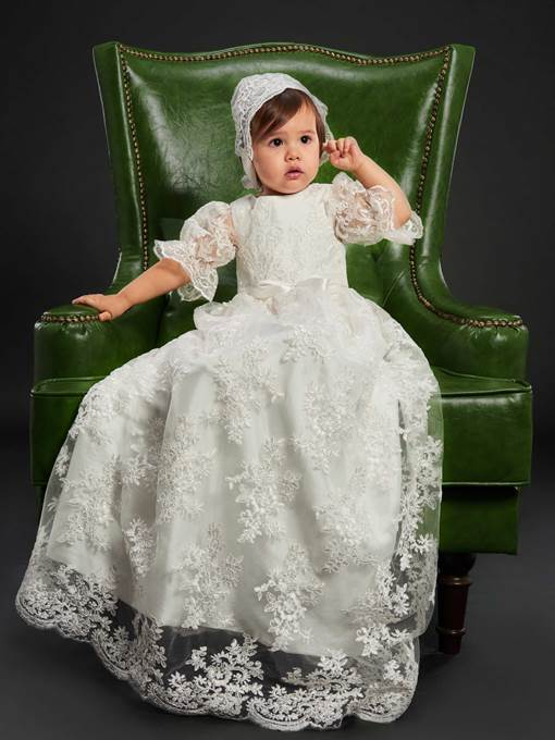 Ericdress Tulle Lace Baby Girls Christening Gown with Bonnet