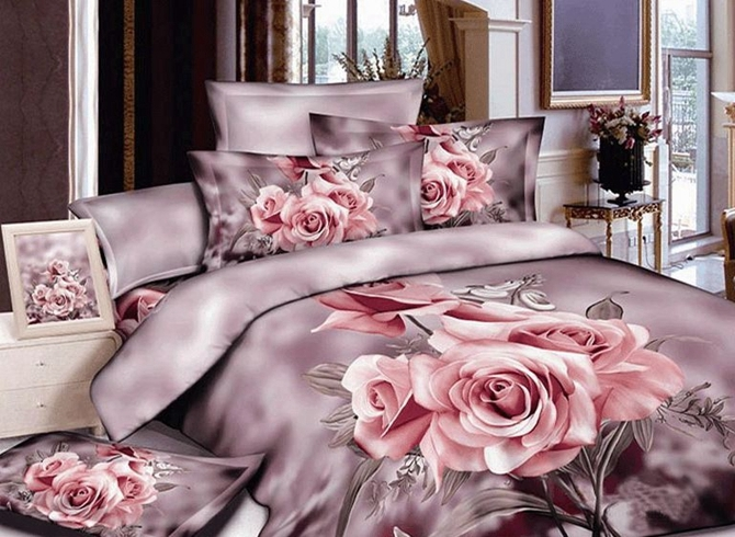 Vivilinen 3D Bunch of Pink Roses Printed Pastoral Cotton Full Size 4-Piece Bedding Sets