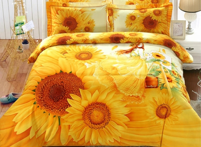 Vivilinen 3D Sunflower and Girl Printed 4-Piece Yellow Bedding Sets/Duvet Covers