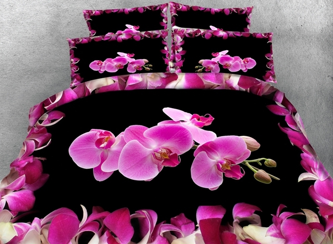 Vivilinen 3D Pink Phalaenopsis Printed Cotton 4-Piece Black Bedding Sets/Duvet Covers