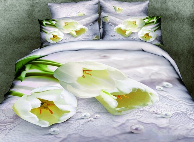 Vivilinen 3D White Tulips and Pearl Printed Cotton Full Size 4-Piece Bedding Sets