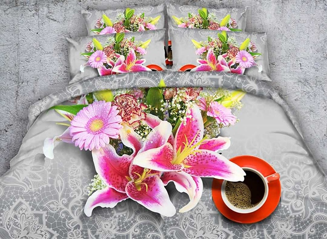 Vivilinen 3D Pink Lily and Daisy Printed Cotton 4-Piece Bedding Sets/Duvet Covers