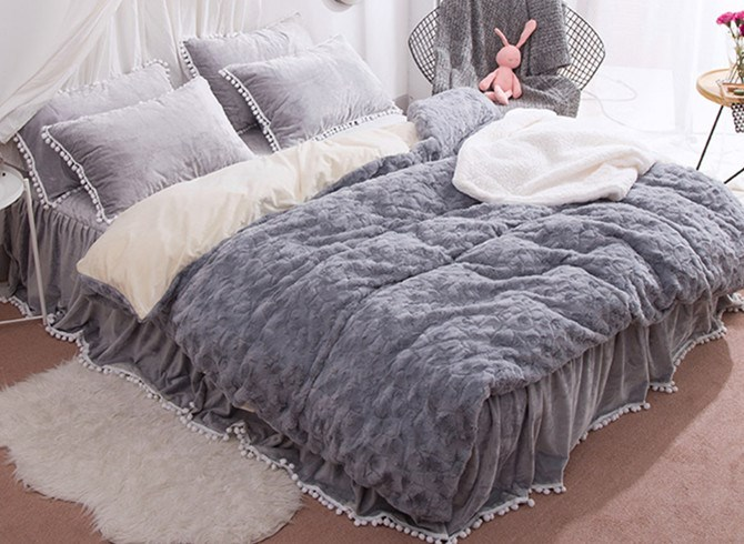 Vivilinen Solid Grey with Decorative Fuzzy Ball Faux Rabbit Fur 4-Piece Fluffy Bedding Sets