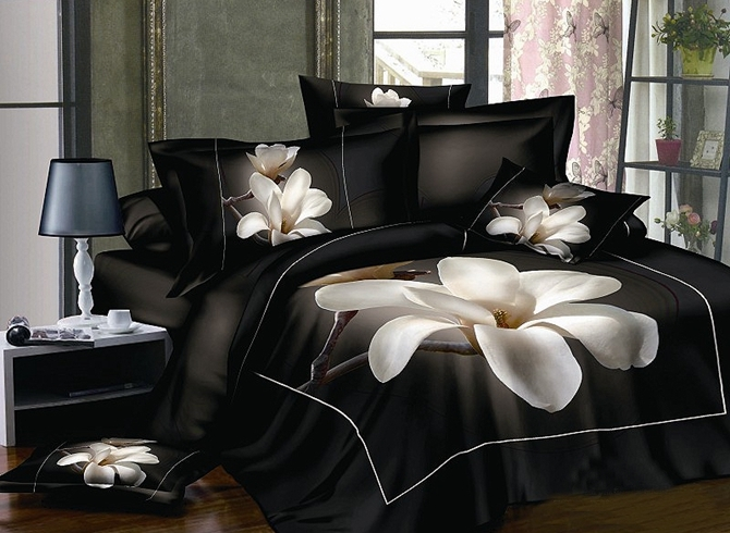 Vivilinen 3D White Magnolia Printed Cotton 4-Piece Bedding Sets