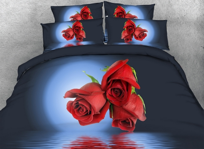 Vivilinen 3D Red Roses and Moonlight Printed Cotton 4-Piece Dark Blue Bedding Sets