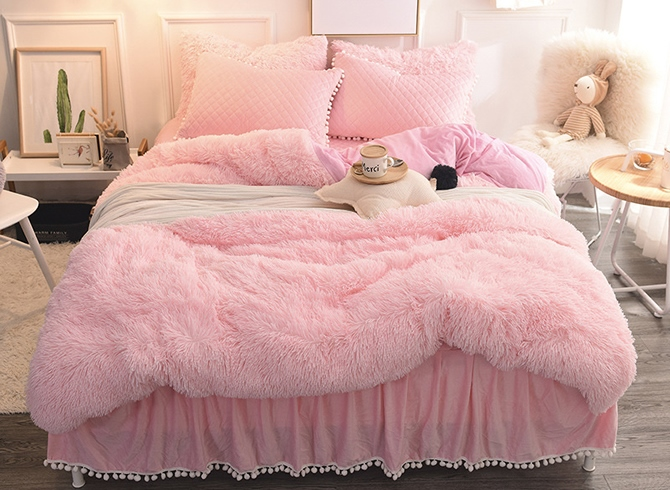 Vivilinen Princess Style Solid Pink with Quilting Bed Skirts Thick 4-Piece Fluffy Bedding Sets