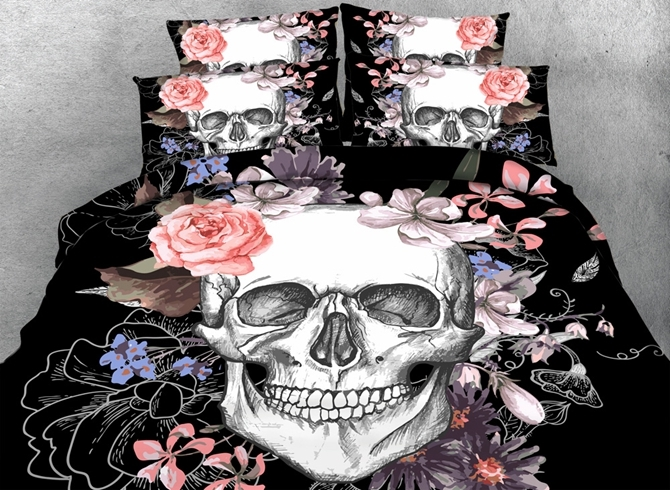 Vivilinen 3D Skull and Flowers Printed Cotton 4-Piece Black Halloween Bedding Sets/Duvet Covers