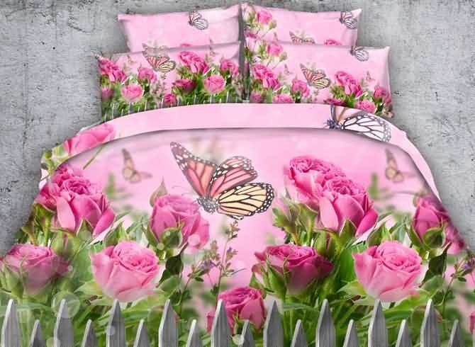 Vivilinen 3D Butterfly and Pink Roses Printed Cotton 4-Piece Bedding Sets/Duvet Covers