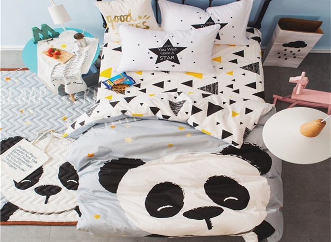 Vivilinen Panda Printed Cotton 3-Piece Gray Duvet Covers/Bedding Sets