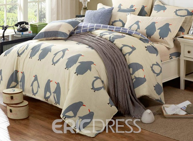 Vivilinen Penguin Pattern Cotton 4-Piece Duvet Cover Set