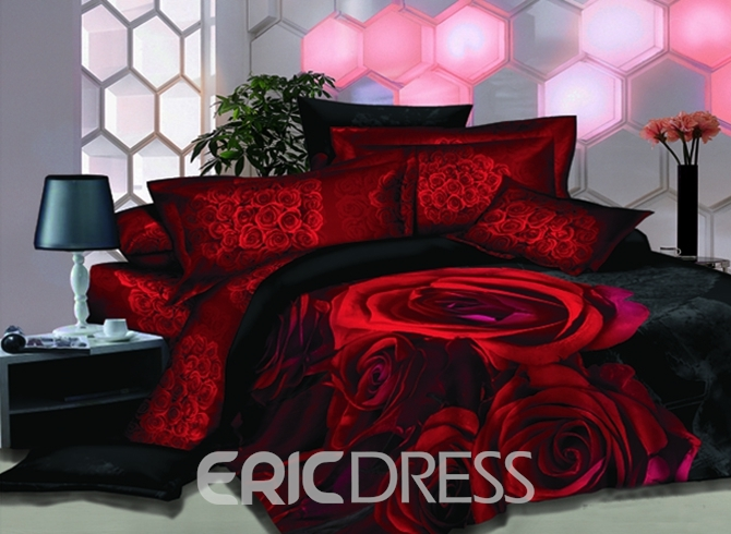 Vivilinen 3D Red Roses Printed Luxury Cotton 4-Piece Bedding Sets/Duvet Cover