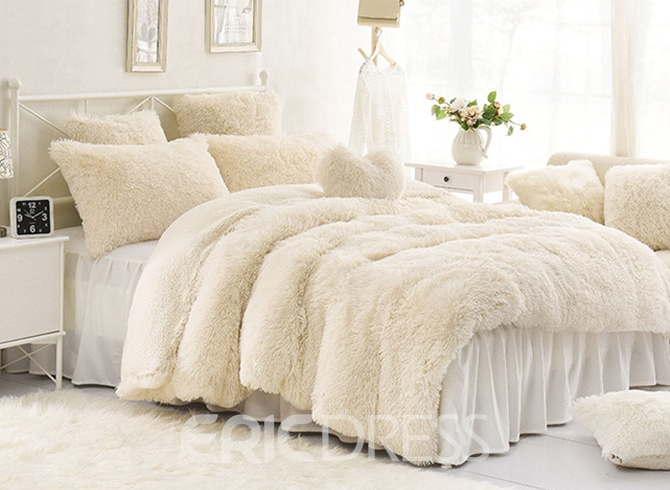 Vivilinen Solid Creamy White Super Soft 4-Piece Fluffy Bedding Sets/Duvet Cover