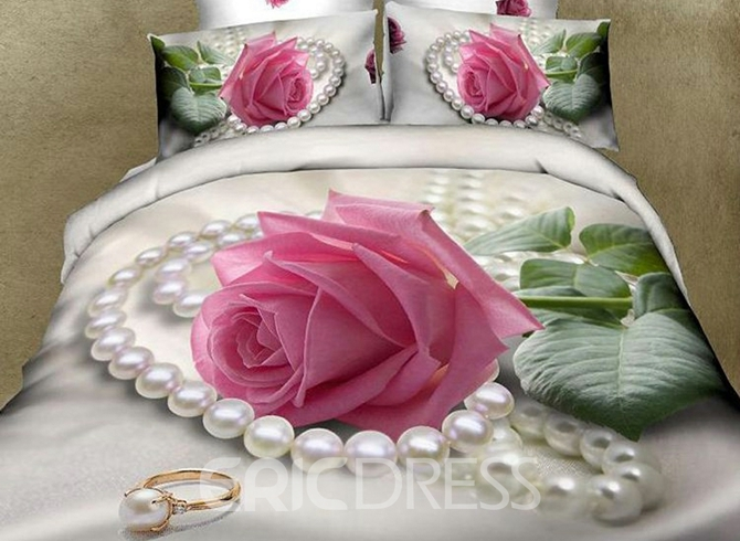 Vivilinen 3D Pink Rose and Pearl Printed Cotton 4-Piece Bedding Sets/Duvet Cover