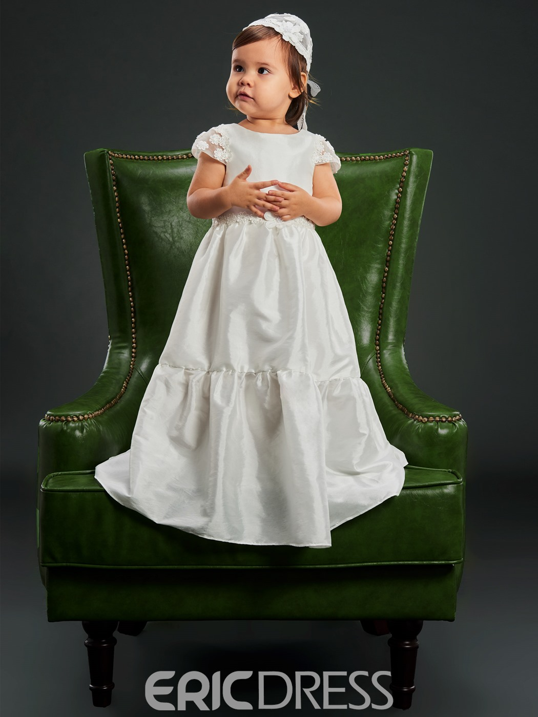 Ericdress Baby Girls Simple Christening Gown for Baptism with Hat