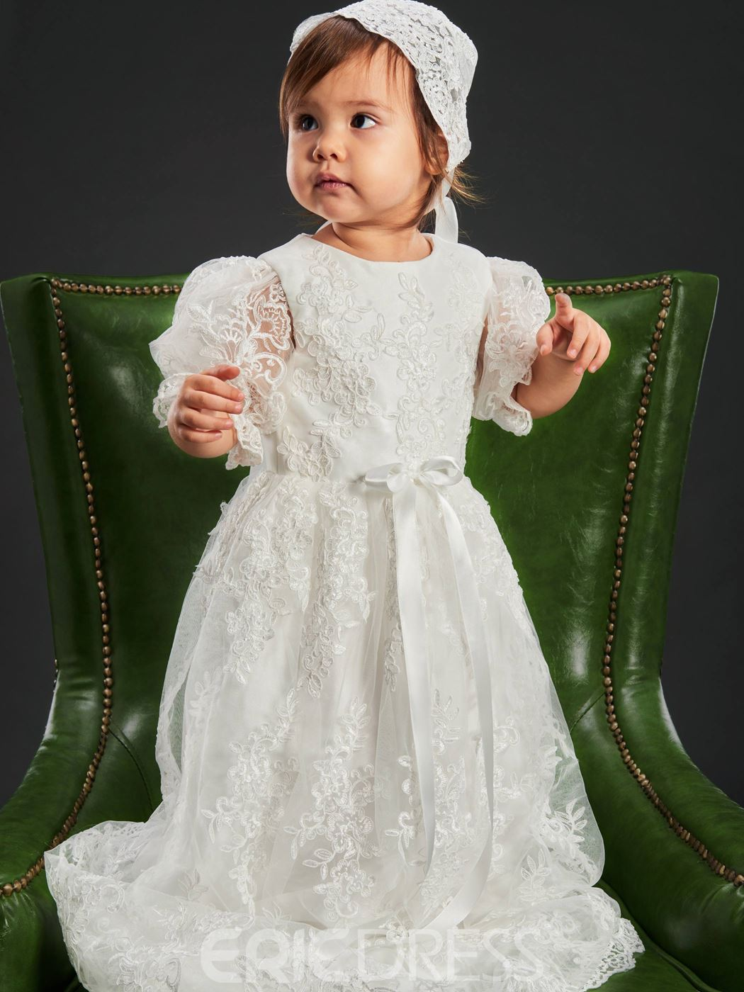 Ericdress Long Beautiful Lace Christening Gown for Girls Baptism