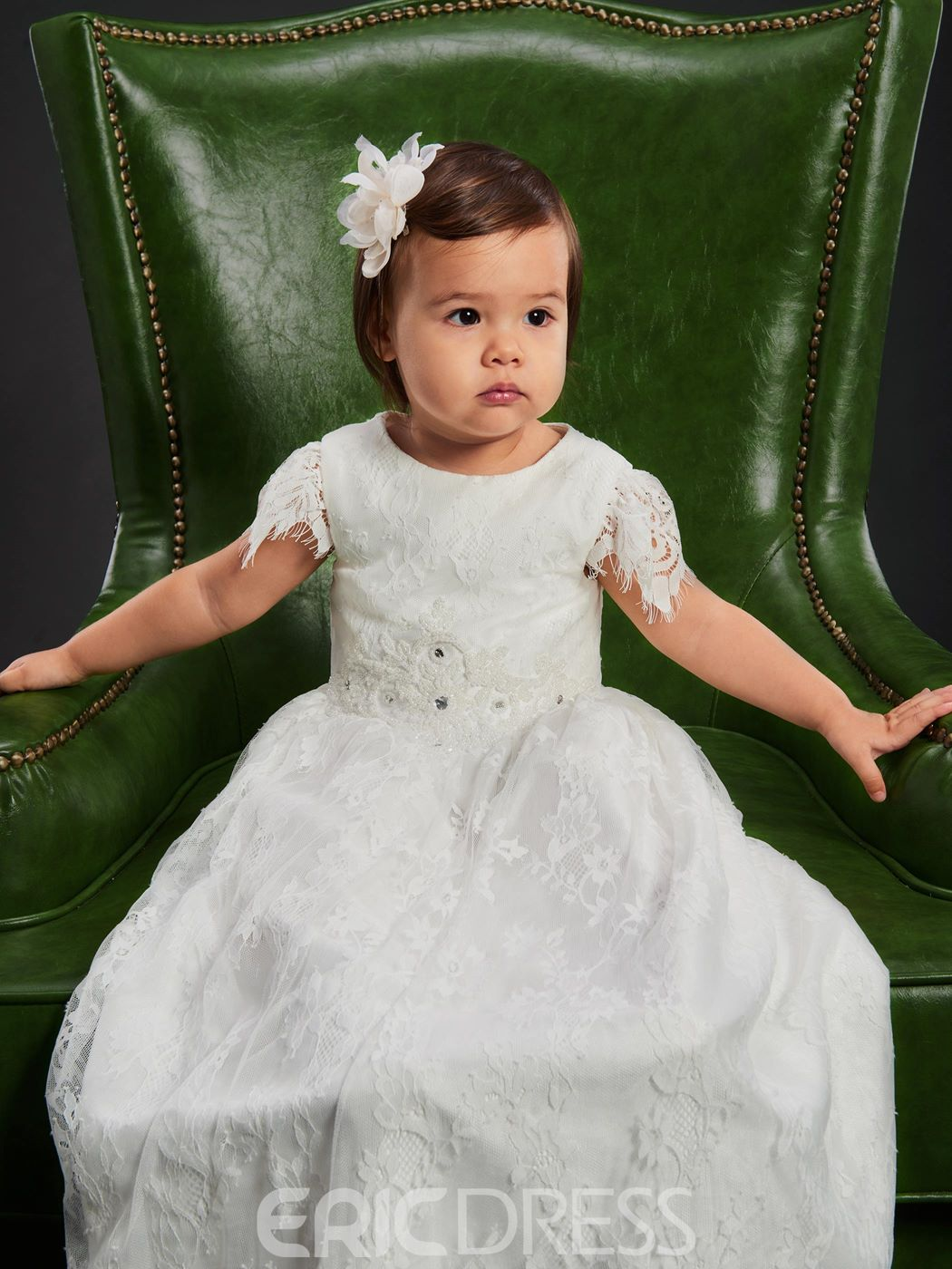 Ericdress Cap Sleebe Baby Girls Lace Christening Baptism Gown