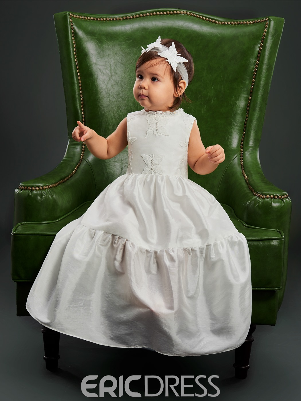 Ericdress Butterfly Lace Applique Sleeveless Christening Gown for Girl