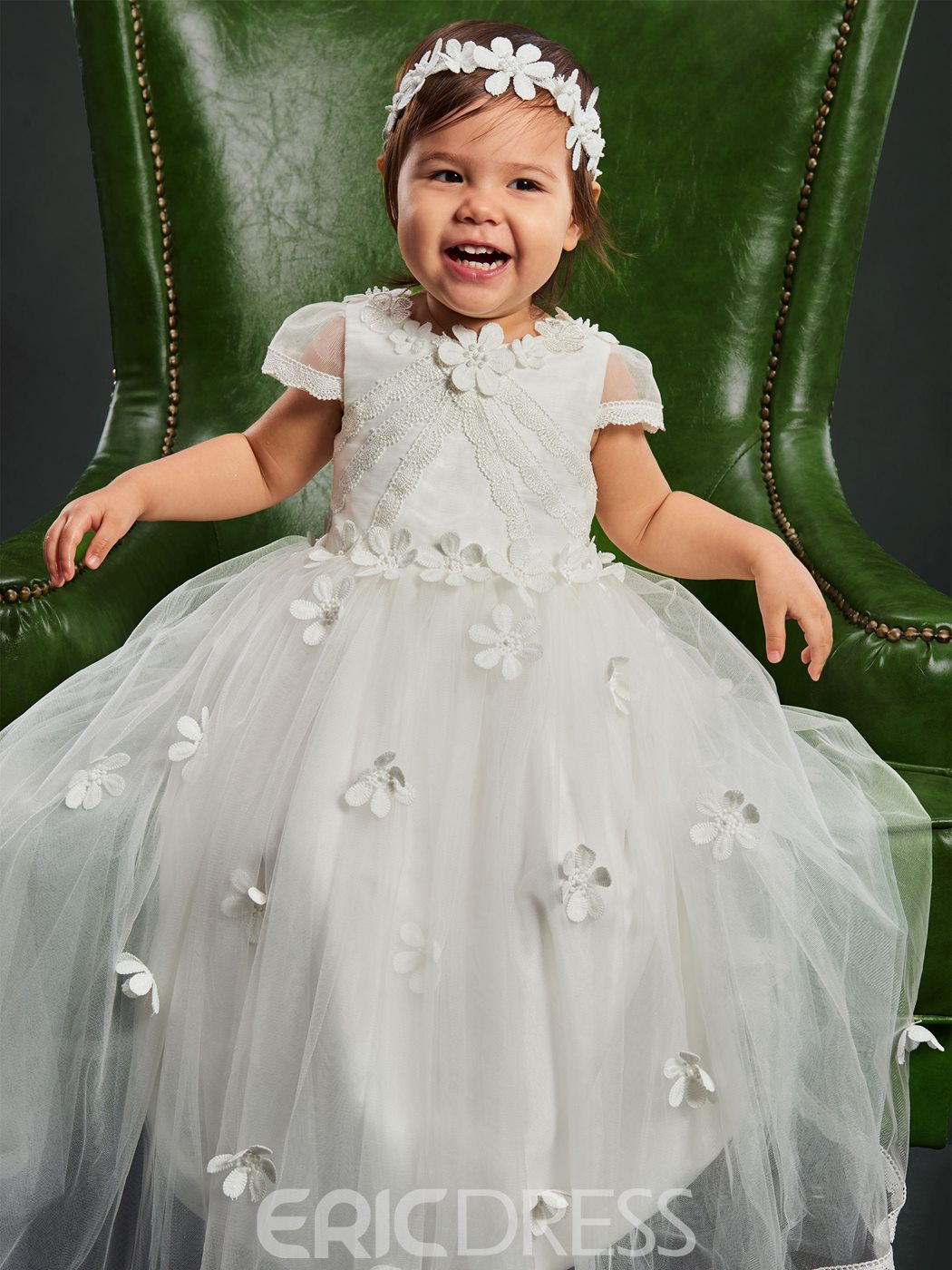 Ericdress Tulle Flowers Infant Baby Girl Christening Gown