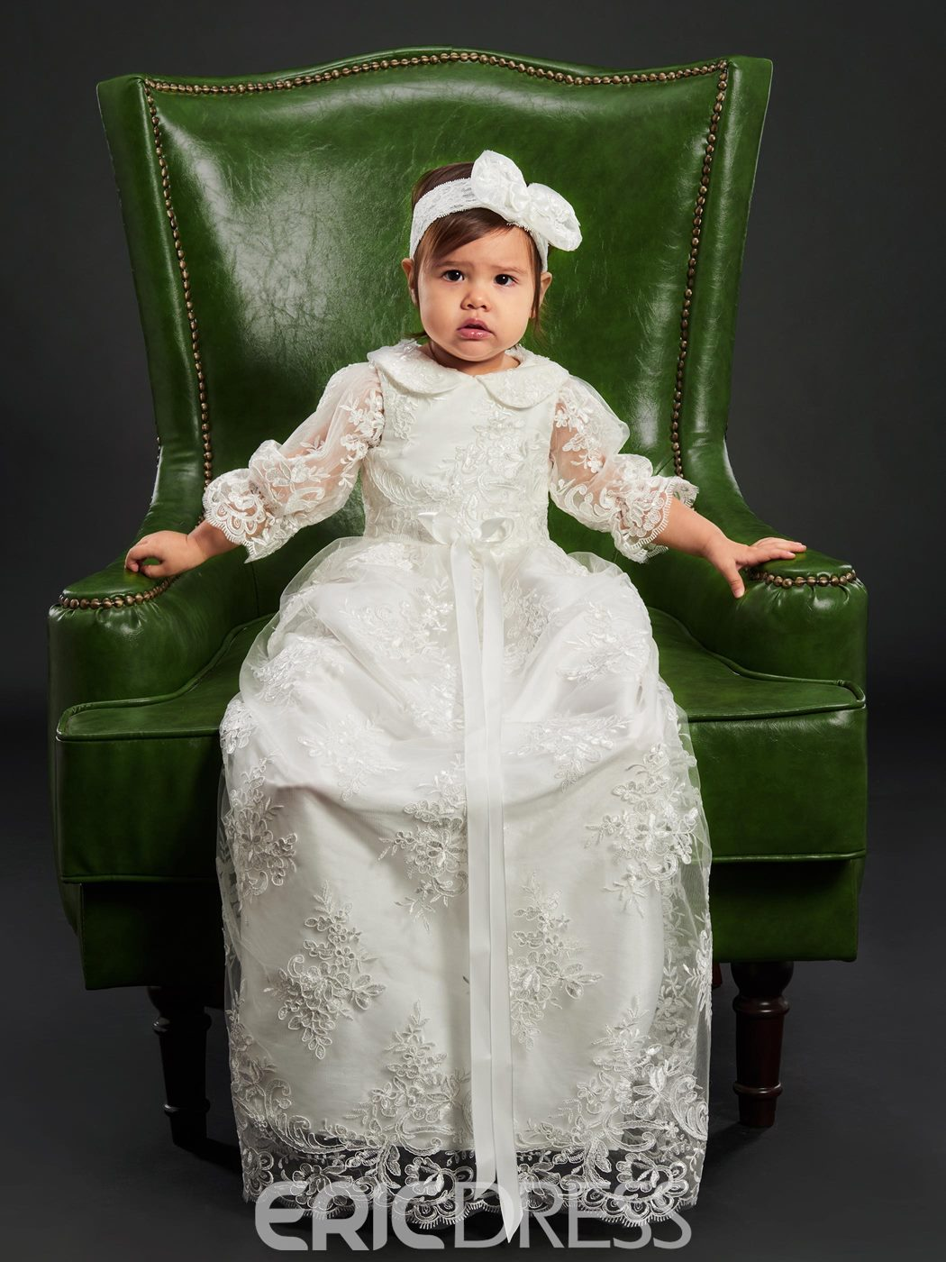 Ericdress Long Lace Tulle Headband Christening Gown for Baptism Girls